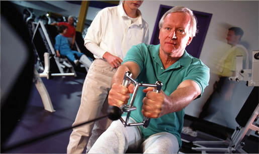 Senior Male on Rowing Machine